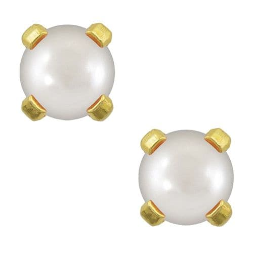 Studex Tiny Tips Pearl 3mm Claw Set Gold Plated Earrings