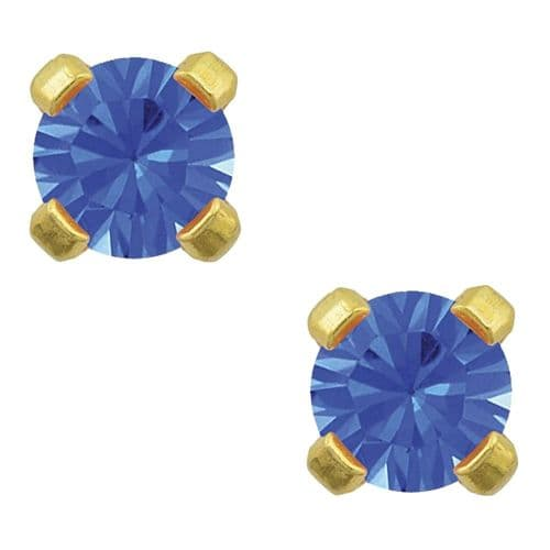 Studex Tiny Tips September Sapphire CZ 3mm Gold Plated Earrings