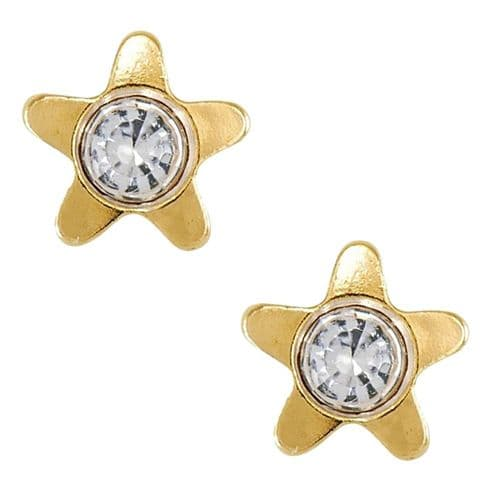 Studex Tiny Tips Star and Crystal Gold Plated Stud Earrings