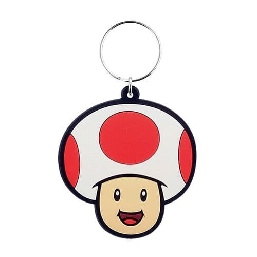Super Mario Toad Character Keyring Rubber Keychain Fob
