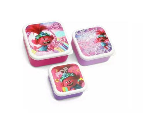 Trolls Poppy Stacking Lunch Boxes - Set of 3