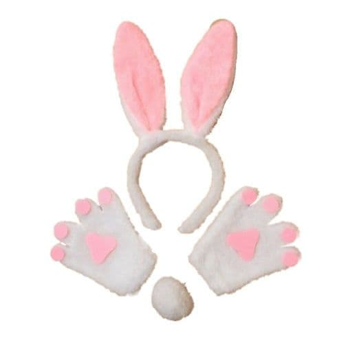 White Bunny Rabbit Ears Hair Band Tail and Mittens Set