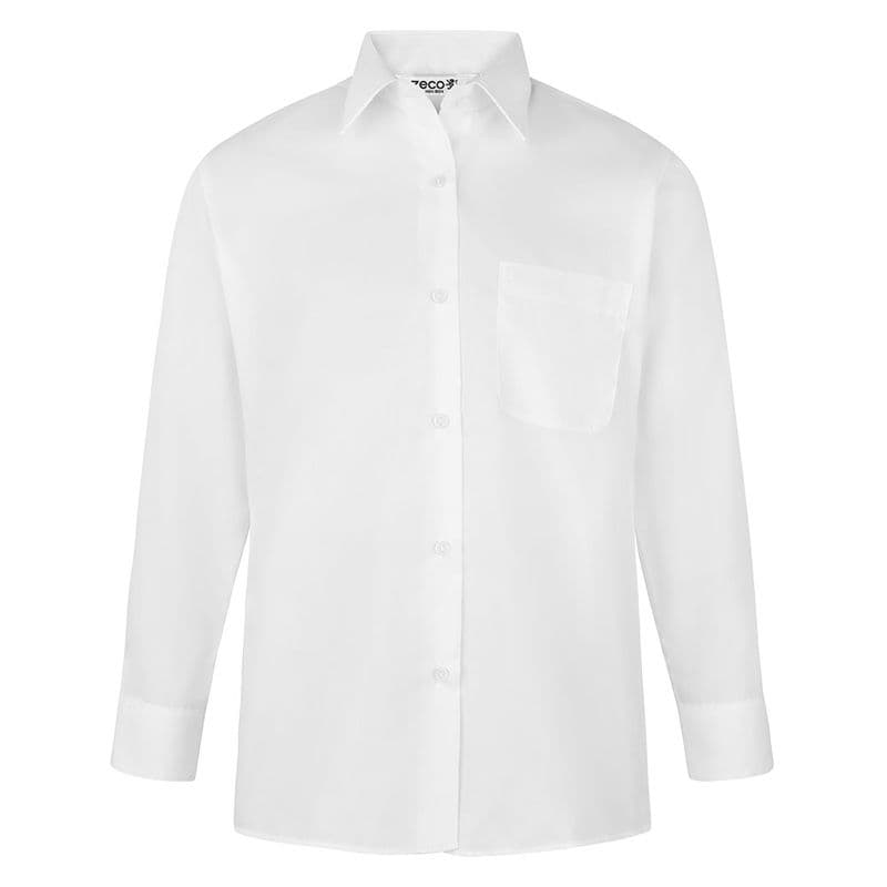 Girls White Long Sleeve Blouse - Twin Pack