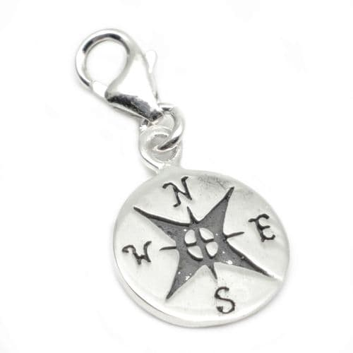 Compass Sterling Silver Clip On Charm