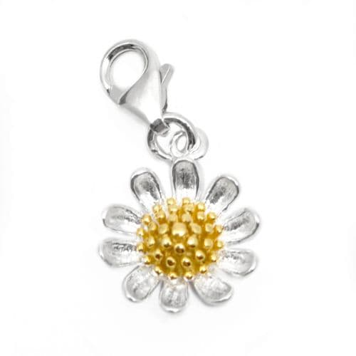 Daisy Flower Sterling Silver Clip On Charm