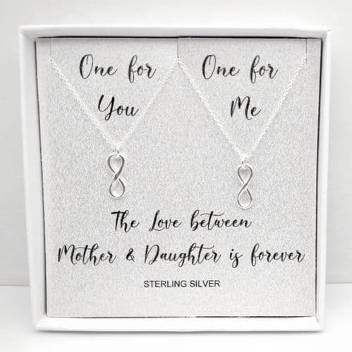 Mother  Daughter Set of 2 Sterling Silver Pendant Necklace Boxed Gift
