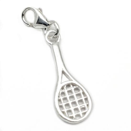 Tennis Racket Sterling Silver Clip On Charm