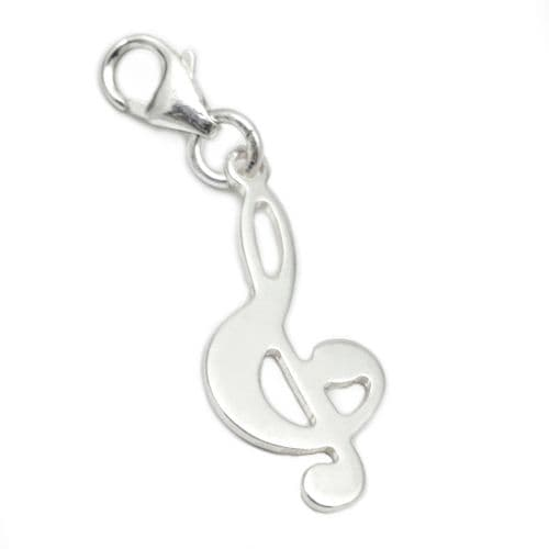 Treble Clef Musical Note Sterling Silver Clip On Charm