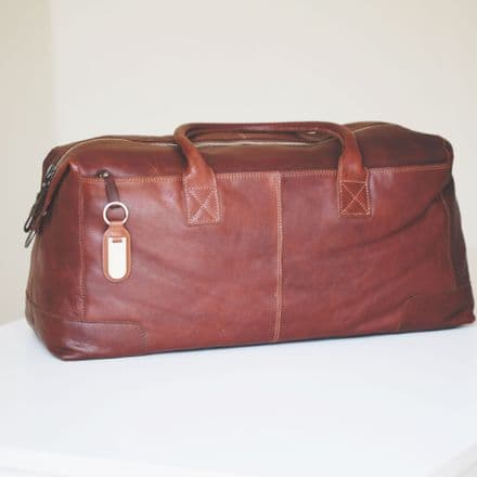 Full-Grain Leather Travel Bag with Personalised Leather Name Tag