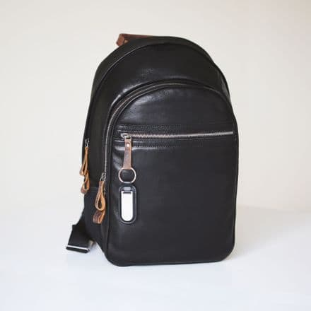 Genuine Leather Travel Rucksack with Personalised Name Tag