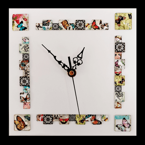 20cm Square Butterfly Cabochon Wall Clock, White