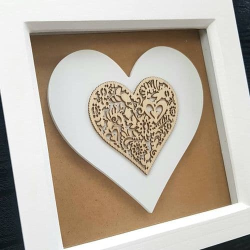 Box Frame with Wooden Heart