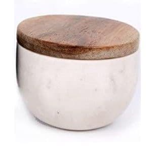 Marble Bowl with Wood Lid, Cream