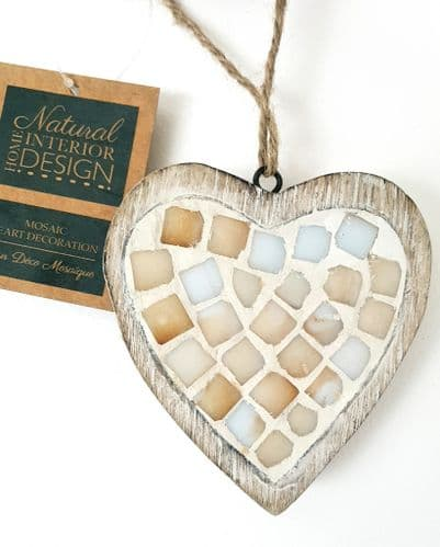Mosaic Pearl Effect Hanging Wooden Heart Decoration