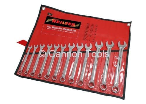 12pc Combination Spanner Set Ring End Fits Metric Sae and Star Type Nuts