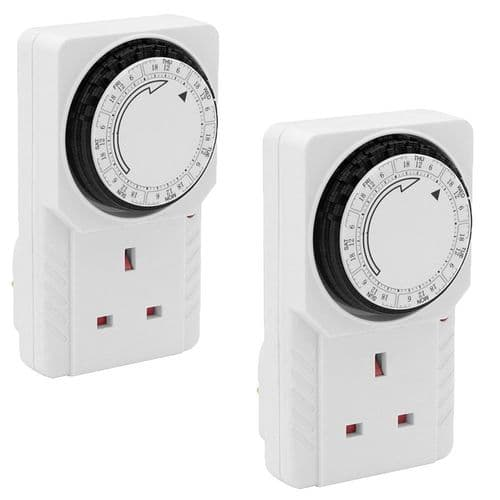 2X 24 Hour 24Hr Mains Plug In Timer Switch Time Clock Socket Uk 3 Pin Adapter