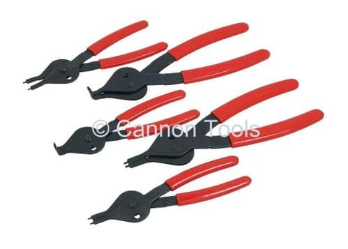 5Pc Circlip Snap Ring Pliers Set Includes Straight & Offset Rubber Grip