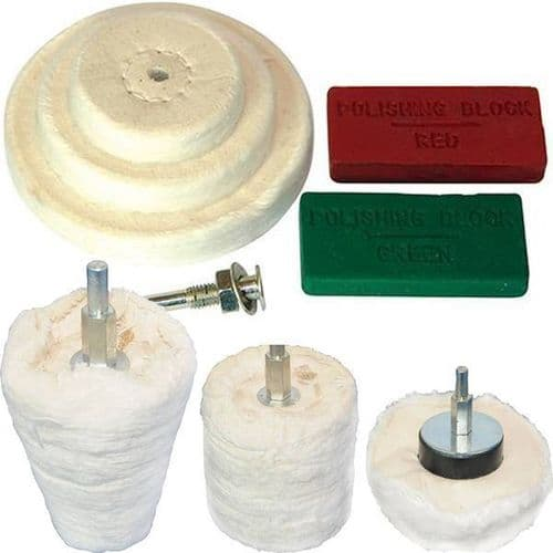 9pc Silverline Polishing Kit Dome Goblet Cylinder Mop Buffing Wheel Compound
