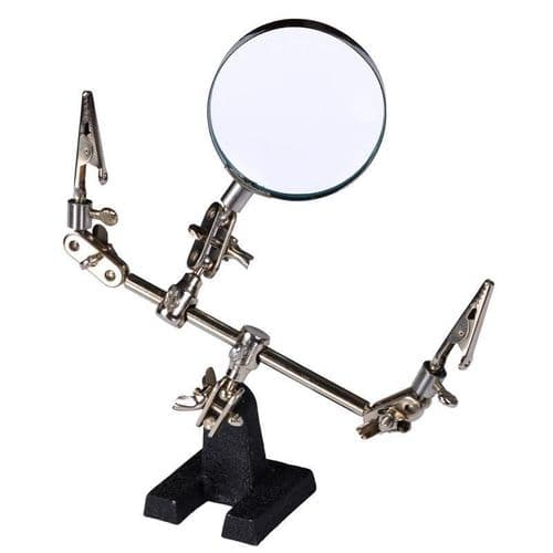 Helping Hand Tool Modelling Kit Magnifying Glass 60mm With Clips