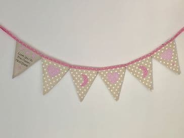 'Love you to the Moon and Back' Pink Baby Bunting with Hearts