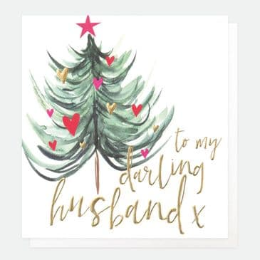 """""""To My Darling Husband' Cute Christmas Card with Hearts"""