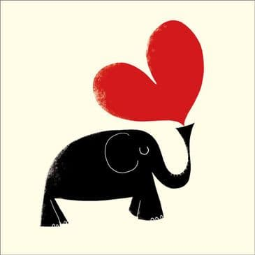 Cute Elephant & Huge Red Heart Greeting card - Blank inside for your own message