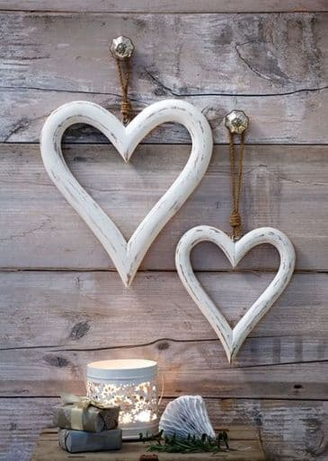 A Pair of Gorgeous Distressed White Wooden Hearts