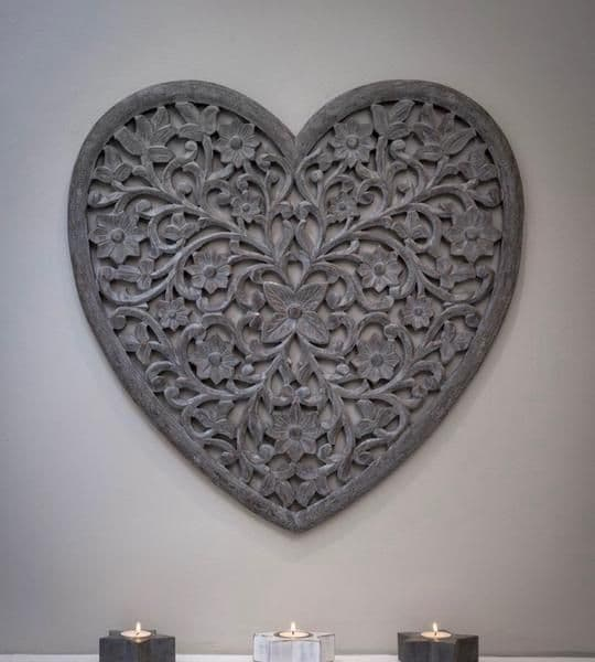 Beautiful Large Filigree Heart Shaped Carved Panel in Grey
