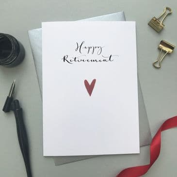 Classy & Lovely 'Happy Retirement' Greeting Card with Red Heart Detailing