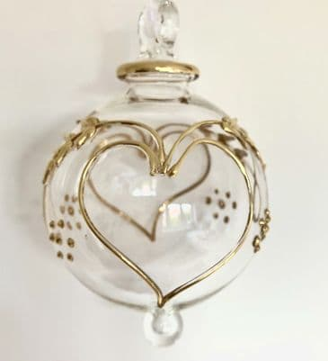 Exquisite Handmade Glass 'Forever' Gold Christmas Decoration with Heart Detailing