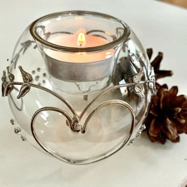 Exquisite Handmade Glass Silver 'Forever' Votive with Heart Detailing
