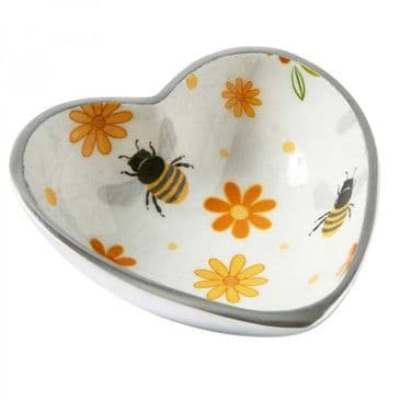 Gorgeous 'Busy Bees' Rounded Heart Bowl/Dish