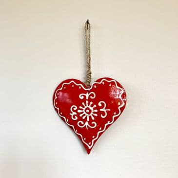 Gorgeous Christmassy Red Hanging Heart with Pretty Antique White Detailing