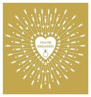 Gorgeous Golden 'Your Engaged' Greeting Card with Diamant Embellishment