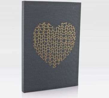 Gorgeous Handcrafted Grey A5 Notebook with 'Gold Knit Heart' Cover Design