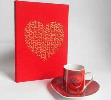 Gorgeous Handcrafted Red A5 Notebook with 'Gold Knit Heart' Cover Design