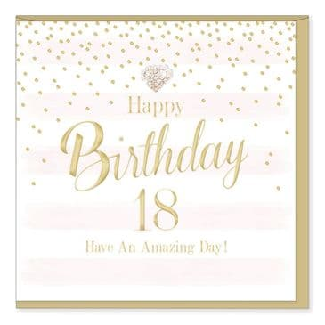 Gorgeous Luxury 'HAPPY 18TH BIRTHDAY' Card with Diamante Heart Embellishment
