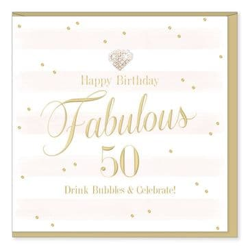 Gorgeous Luxury 'HAPPY 50TH BIRTHDAY' Card with Diamante Heart Embellishment