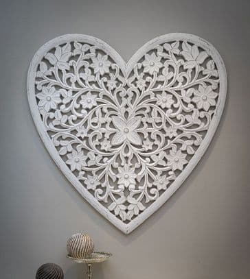 Gorgeous Very Large Filigree Heart Shaped White Carved Panel