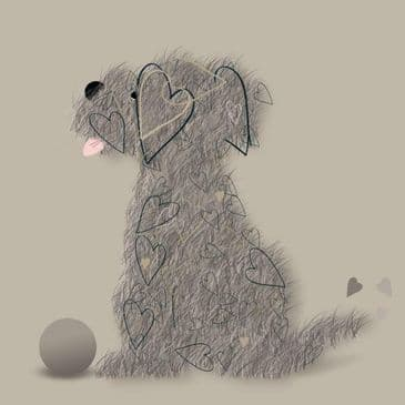 How Cute??!! 'Chip The Dog' Again, Again Greeting Card with Heart Detailing