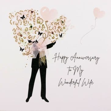 Just Gorgeous! 'Happy Anniversary to My Wonderful Wife' Greeting Card