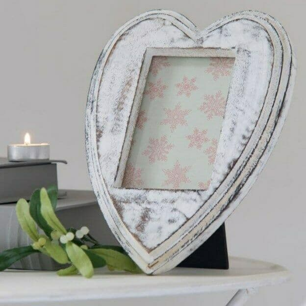 Just Gorgeous! Large Heart Shaped Shabby Chic Wooden Photo Frame