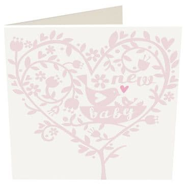 New Baby Girl - Caroline Gardner Greeting Card - Super pretty Heart and Floral D