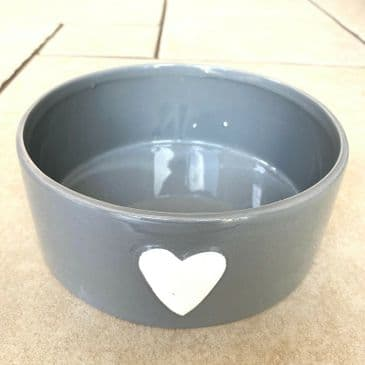 Simply Lovely! Grey Dog Bowl with White Heart Design for the Dog You Lurrvvvv!
