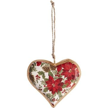 Super Christmassy 'Poinsettia' Wooden Hanging Heart