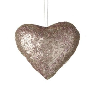 Super Gorgeous Pink Sequinned Hanging Heart Ornament