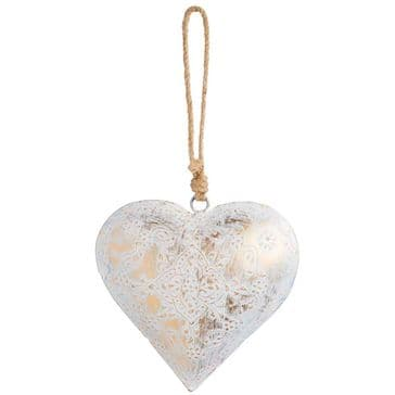 Vintage Style Ivory Metal Hanging Heart  - Just Fab!