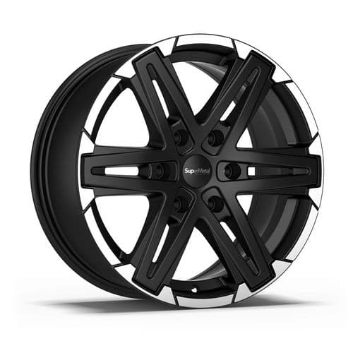 "18"" SuperMetal Compass Matt Black Polished Rim Alloy Wheels"