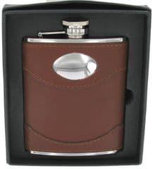 Artamis Hipflask Stainless Steel Spanish Leather