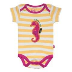 Kite Bodysuit Short Sleeve Baby Girl Stripy Seahorse Primrose
